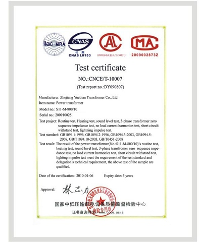 Product Certification of transformer